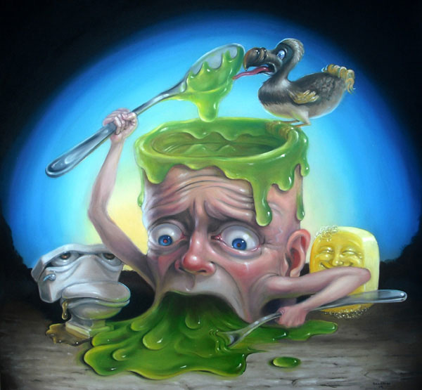 Stephen Gibb - man oozing green goo, sick toilet, dodo, soap