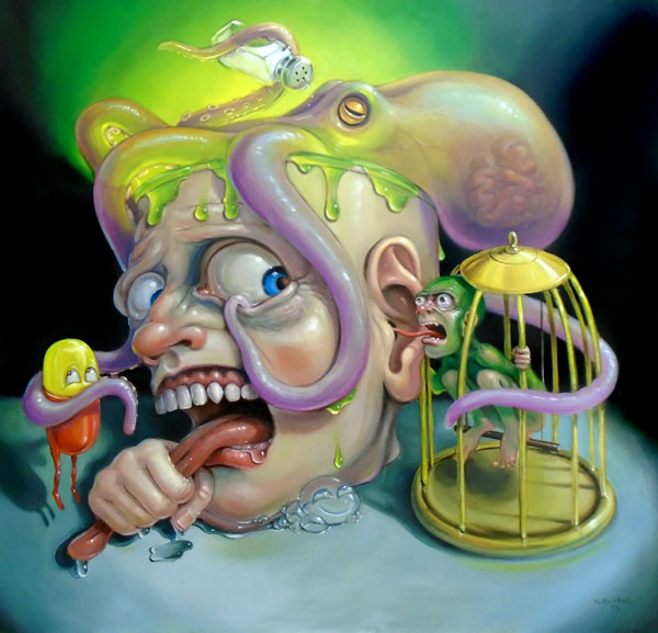 Stephen Gibb - octopus, toxic goo, toxic personality, bird cage, holding one's tongue, bitter pill