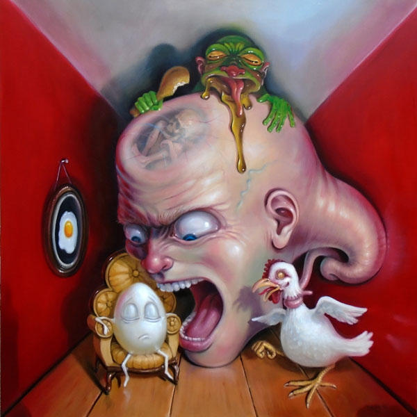 Stephen Gibb Canadian Pop Surrealism - giant head screams at egg