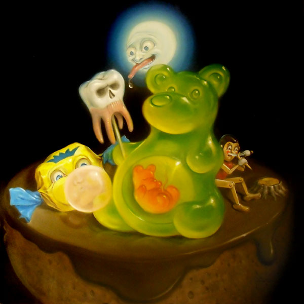 Stephen Gibb Canadian Pop Surrealism - Pregnant gummy bear, gummy-bear, Pinnochio