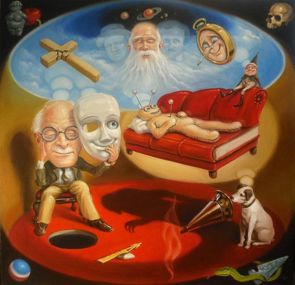 Stephen Gibb - Carl Jung, red book, voodoo doll, his master's voice