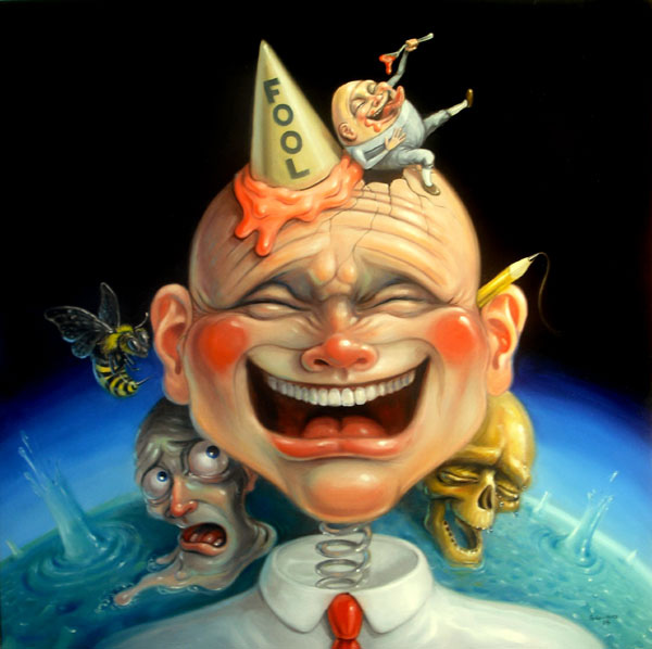 Stephen Gibb - Laughing man, Humpty Dumpty, dunce cap, bee