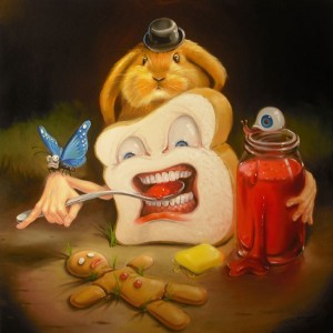 Stephen Gibb Canadian Pop Surrealism - whitebread eating jam, broken gingerbread man