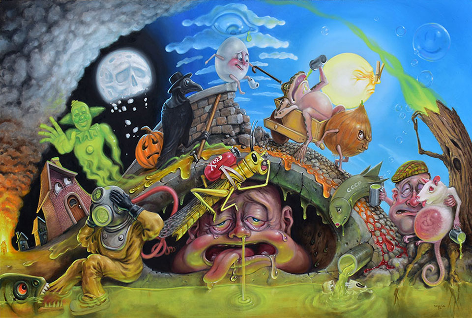 "pop surrealism art - Last Days Of the Plague — Stephen Gibb, 36"" x 24"", oil on panel, 2020"