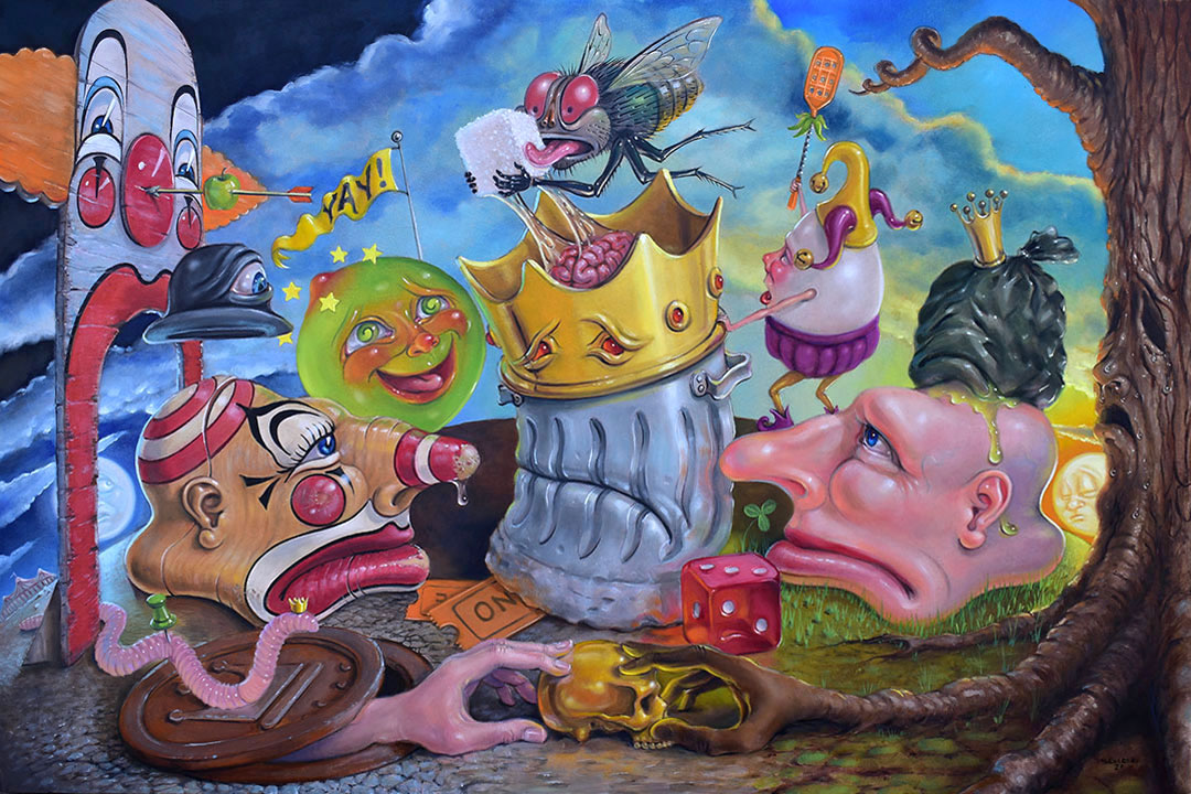 pop surrealism lowbrow painting of trash